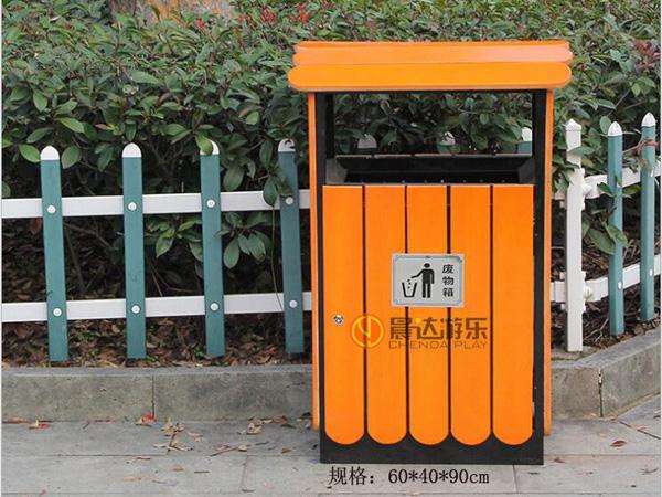 钢木垃圾桶-单桶028